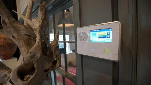 Security system interface on the wall of a local business