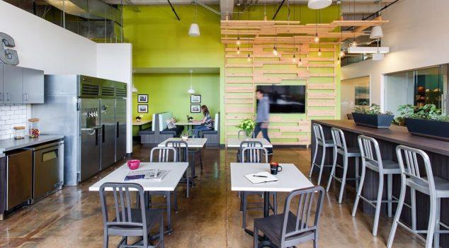 high-quality AV system equipment in employee lounge
